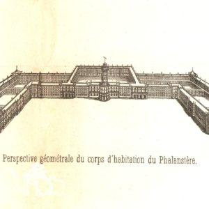 Perspective géométrale du corps d'habitation du phalanstère